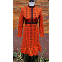 Vintage Polka Dot Dress, Ruffle, Orange and Black, Empire Waist, 60s, Mid Century, Mod, Long Sleeves, Geometric Detail Polyester Knit, Fall
