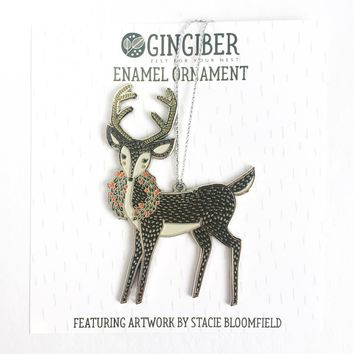 Merrily Deer Enamel Ornament
