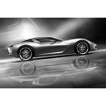 Corvette Stingray Concept poster Metal Sign Wall Art 8in x 12in Black and White