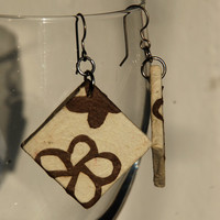 Square Hanji Paper Dangle Earrings OOAK White Brown Flower Design Unique Paper Jewelry Hypoallergenic hooks Lightweight