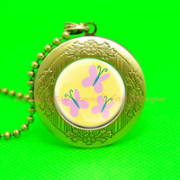 my little pony fluttershy cutie mark mlp pendant locket necklace, girl gift