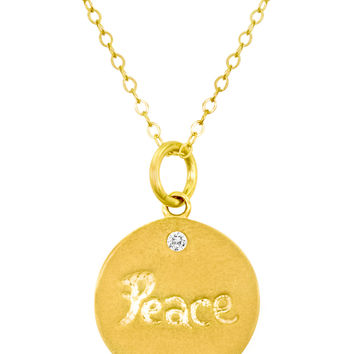 "Nephora Women's 0.05 Total Ct. Diamond & Gold ""Peace"" Disc Pendant Necklace"