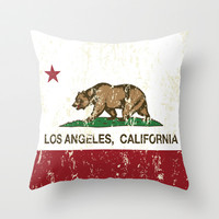 California Flag Los Angeles distressed  Throw Pillow by NorCal
