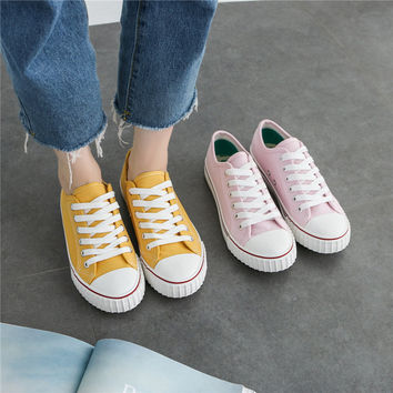 """ulzzang"" Fashion All-match Small White Shoes Casual Female Harajuku Shoes Canvas Straps Shoes Flats Shoes Student Shoes Plate Shoes Low Shoes Single Shoes"
