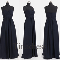 Custom Navy Blue Long Bridesmaid Dresses 2014 Prom Dresses Wedding Party Dress Cocktail Dress Cheap Party Dress Evening Gown Formal Wear