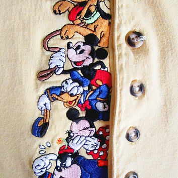 Vintage 90's Walt DISNEY Mickey, Minnie, Pluto, Goofy, Pete Embroidered Yellow Henley Long Sleeve Shirt Sz L