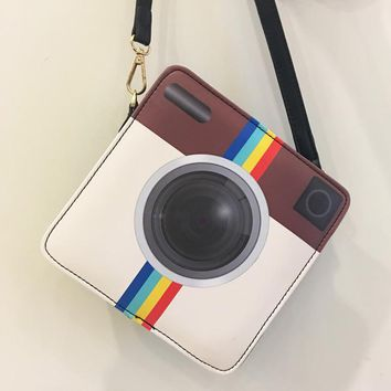 Cute IG camera fashion unique personality style sequinedpu shoulder bag handbag messenger bag flap casual purse