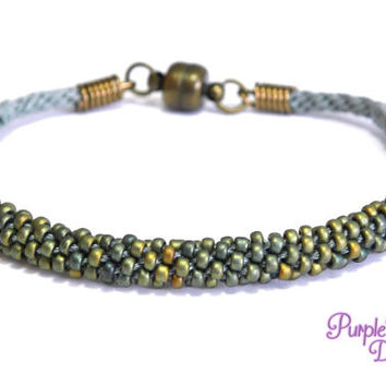 MAGNOLIA Beaded Kumihimo Bracelet, Braided Rope Bracelet with Seed Beads - Smoky Blue/Mat Patina Iris