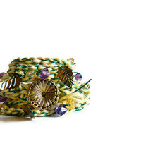Shabby Chic hippie style Woman Cuff Bracelet. Yellow multicolor beaded crochet wrap bracelet...