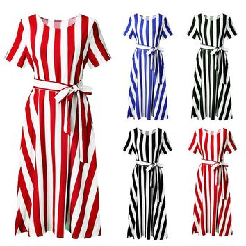 Fashionable Sexy Women's Short Sleeve Stripe Lace with Leisure Pocket Dresses