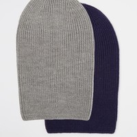 ASOS Slouchy Beanie Hat With Blue And Grey 2 Pack SAVE 17%