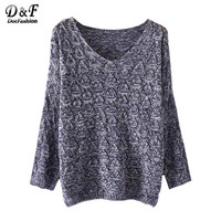 Dotfashion Womens Fall Fashion Womens Sweater for Winter Autumn Fall Clothes Women V Neck Loose Textured Sweater
