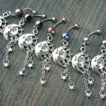 pick one Celestial belly ring sun and moon  belly ring moon goddess sun moon stars gypsy hippie boho and hipster  new age style