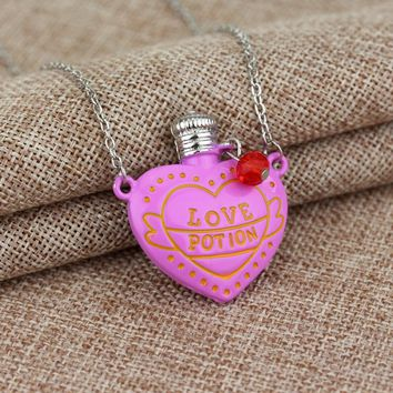 Hot Movie LOVE POTION Necklace Romantic Pink Heart Bottle Pendant Necklace with Crystal Movie Jewelry