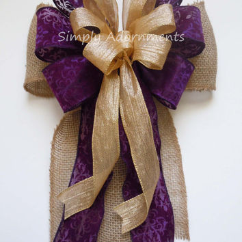 Purple Gold Burlap Wedding Bow Rustic Burlap Wedding Aisle Decoration Shabby Chic Country Wedding Aisle Bow Burlap Chair Bow
