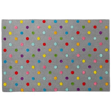 Candy Dot Gray Rainbow Polka Dot Rug