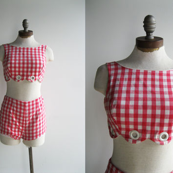 Incredible 1950's Pin Up Red White Gingham Plaid Check Two Piece Bathing Swim Suit with High Waisted Shorts Scalloped Edge and Grommets