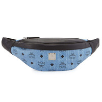 MCM Blue and Black Leather Fanny Pack