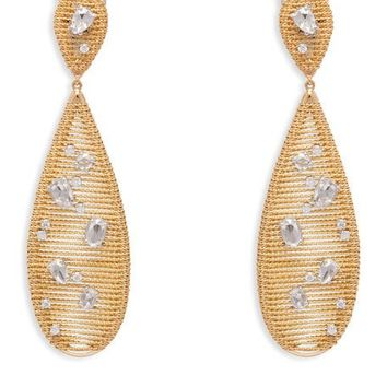 Staurino Fratelli 18k Yellow Gold Renaissance Diamond Pear Drop Earrings