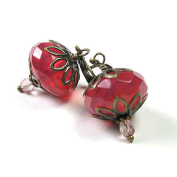 Vintage Style Earrings, Pink Dangle Earrings, Pink Grapefruit, Czech Glass Jewelry, Gifts for Her, Strawberry, Gifts for Mom, Accessories,