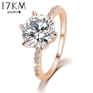 17KM Christmas Gift High quality Silver Color Rose Gold Color Crystal Ring Jewelry Wedding Rings For Women Accessory anillo