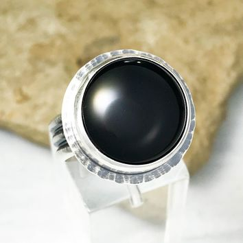 Black Onyx Rings with Tri-Ring Band Size 7