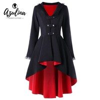 Womens Trench Coat Back Lace Up High Low Gothic Fashion Black Red Winter V-Neck Long Overcoat