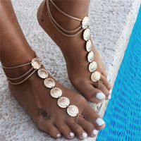 New Fashion Sexy Gold Silver Plated Flower Patern Anklet Barefoot Jewelry Foot Chain Sandel for Women