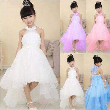 New Kids Girls Toddler Princess Party Prom Formal Wedding Beads Flower Beauty Bridesmaid Long Tail Wedding Dress [7981320903]