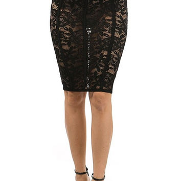 Contrasted Lace Midi Skirt