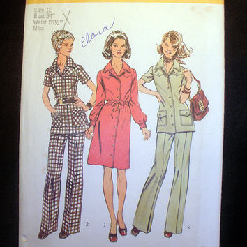 Vintage 1970's Dress or Tunic and Pants Misses' Size 12 Simplicity 5735 Sewing Pattern Uncut