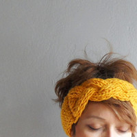 Knit Headband, Braided Headband, Mustard Yellow Headband, Ear warmer, Knitted Headband, Headband, Winter Accessories, Winter  Fashion