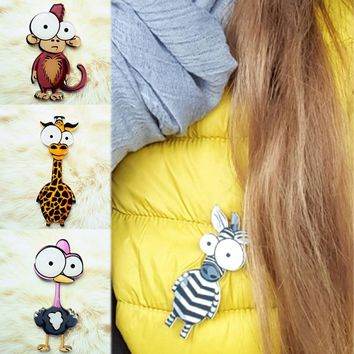 2018 New Cute Brooch Animal Backpack Seaside Hat Cartoon Men Women pins stranger things 1PC Clothing Monkey Lion Acrylic Brooch