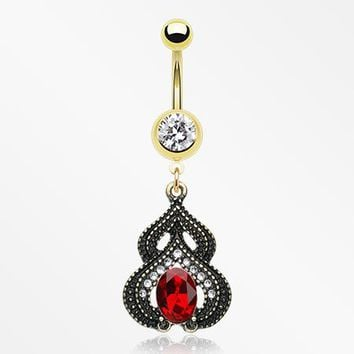 Golden Rustica Arabesque Belly Button Ring