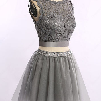 Two Piece Short Cocktail Dresses Lace Mini Homecoming Gowns