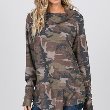 Camo Cowl Neck Top - Brown