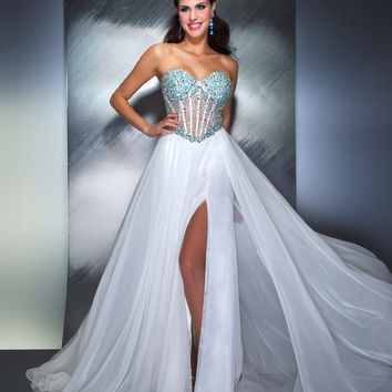 Mac Duggal Prom 2013- White And Aqua Gown With Rhinestones - Unique Vintage - Cocktail, Pinup, Holiday & Prom Dresses.