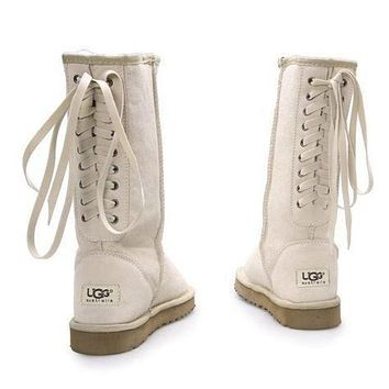 UGG Classic Women Fashion Strappy Leather Winter Half Boots Shoes Sand White