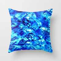 Blue Liquid Water Texture Throw Pillow by Blooming Vine Design
