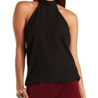 Lace-Back Chiffon Halter Top by Charlotte Russe