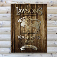Rustic Wood Cabin Canvas Print - Moose