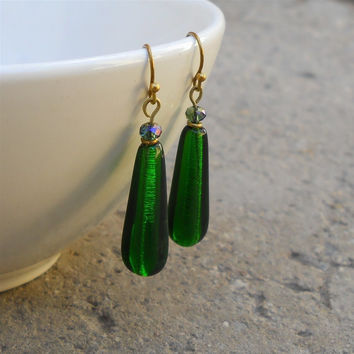Emerald, Dark Green Vintage Glass Earrings