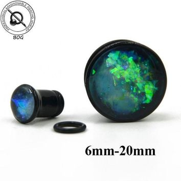 ac ICIKO2Q BOG Black Acrylic Single Flare Ear Tunnel Plugs With O Ring Like Opal Stone Crystal Earlet Expander Gauges Piercing Body Jewelry
