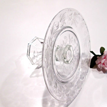 Etched Crystal Cake Plate Stand, Horderve Stand, Cupcake Plate / Upcycled Glass Cake Stand