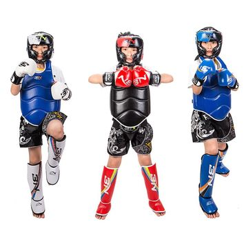 BN boxing kids set 6oz boxing gloves Headgear shin guard For karate mma guantes de boxeo Muay Thai fitness equipment 110-160cm
