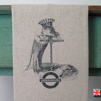 Underground Tea Towel by Bravura on Etsy
