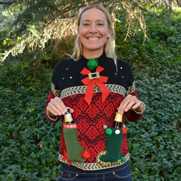 Beer holder Party Sweater, Ugly Christmas sweater, Medium, new years eve, beer, women, alcohol, party sweater, party