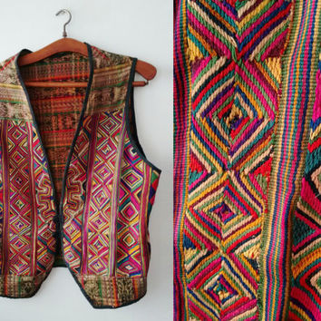 Vintage West Balkan Handmade Colorful cotton weaving  Ethnic Colorful  Vest Folk hand made Free shipping