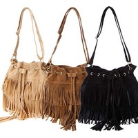 Zeagoo Womens Faux Suede Fringe Tassels Cross-body Shoulder Bag
