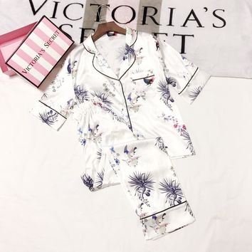 Dolce & Gabbana Women Silk Satin Print Pattern Robe Sleepwear Loungewear Set Two-Piece-5